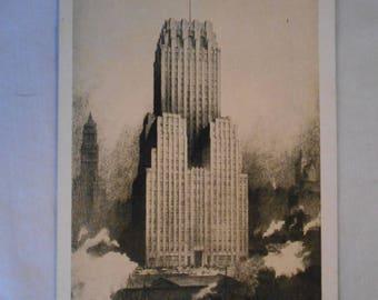 Postcard 1930s New York City Telephone Co. Company Building Unused Fine-