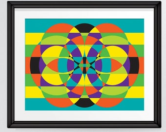 Abstract Circles Print, Colourful Pattern Art inspired by the 1970s, Geometric, Printable Wall Print, INSTANT DOWNLOAD