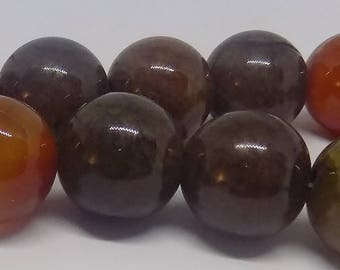 Brown 18mm Round Natural Agate Gemstone Beads (20 pieces)
