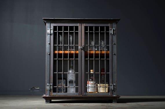 Liquor Cabinet Bar Cart Industrial Caged
