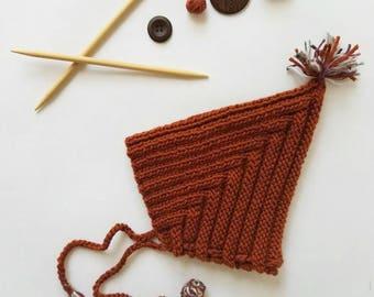 Hand knit toddler pixie hat 12-24 months
