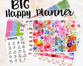 Painted Garden watercolor floral set / kit weekly stickers - BIG Happy Planner - summer flowers roses