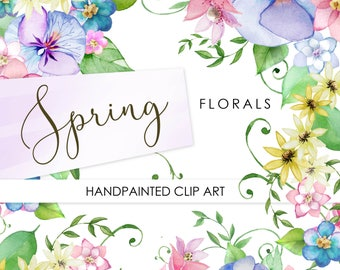 Watercolour Spring Florals: Digital Clipart. Handpainted, floral, wedding elements, country flowers, invite, blossom, frames