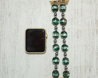 Apple watch band // glass beads apple watch accessories 38mm / 42mm apple watch strap lugs adapter - iwatch band women - no-clasp