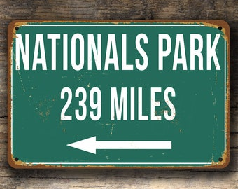 PERSONALIZED NATIONALS PARK Distance Sign, Nationals Park Miles Sign, Personalized Nationals, Highway Distance Sign, Washington Nationals
