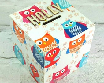 Personalised Owl Money Box, Owl Gifts, Piggy Bank, Money Box, Owl Box, Owl Lovers, Gift for Girl, Pink Decor, Free Gift Wrapping!