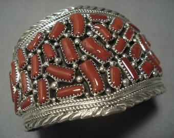 Striking Vintage Navajo Coral Sterling Silver Native American Bracelet