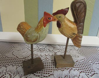 Chicken and Rooster wood VINTAGE Wooden Rooster and Chicken VTG Collection of rooster and chicken wooden rustic wooden decor
