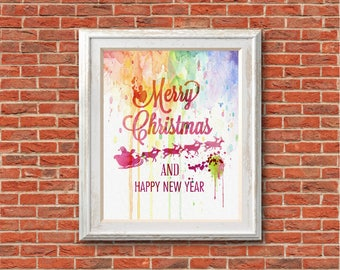 "Merry christmas watercolor Quote Murals ,8""x10""  JPEG & PDF file , Inspirational Quote,Digital Prints,Wall Art Prints"