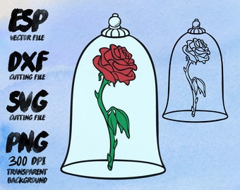 beauty and the beast Rose  Clipart , SVG Cutting , ESP Vectors files , T shirt , iron on , sticker ,Personal Use