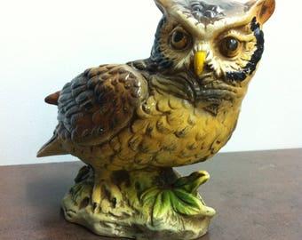 Vintage Owl Planter - Inarco Bird Plant Holder - Ceramic Bird Window Sill Decor