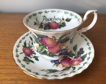 """Royal Albert """"Peaches"""" Vintage Teacup and Saucer, Covent Garden Fruit Series, Peach Flowers Tea Cup and Saucer, Bone China"""