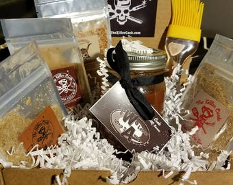 The Killer Cook's Passport to Flavor Gift set with 4 2oz dry rubs, 1 16oz jar of hand crafted Soda Shop BBQ sauce