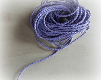 1 meter 3 mm purple round faux braided leather cord