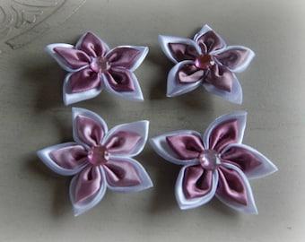 4 appliques 5 petal Flower Pink White 5.5 cm