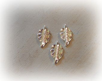 3 charms leaf silver plated 18 * 32 mm