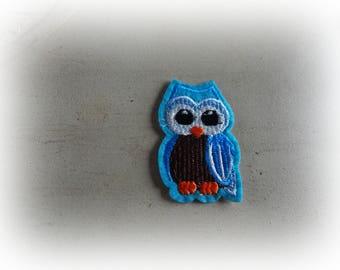 patch fusible patch / applique OWL - OWL turquoise / Brown 5.5 * 3.5 cm