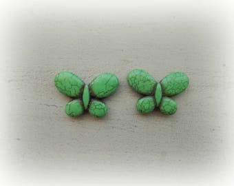 2 beads green effect Butterfly color howlite Crackle 25 * 35 mm