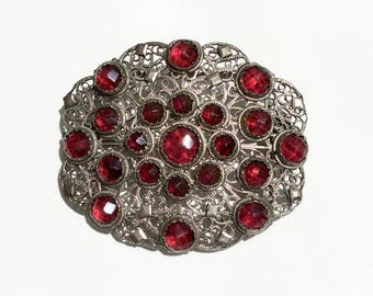 Victorian Silver-tone Filigree Brooch Featuring Red Rose Cut Stones