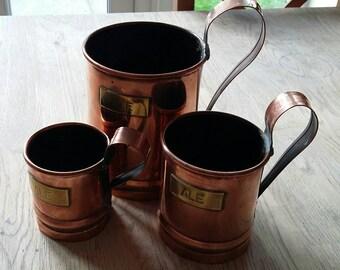 Set of 3 Copper Ale Measures