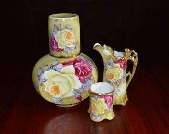 Hand Painted Nippon 4 Piece Set Decanter, Cup, Tankard Style Pitcher and Toothpick Holder