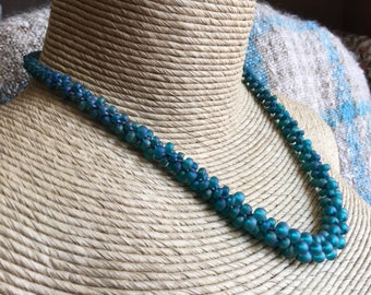 Graduated Teal Green Blue Glass Beaded Crocheted Necklace