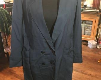 Women's 1990's Harve Benard Long Double Breasted Blazer