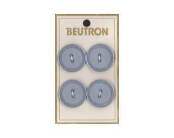 "Vintage Beutron approx. 0.8"" (2 cm) Carded Grey Blue Raised Edge 2-Hole Buttons Four Pieces (B41, B42, B43)"