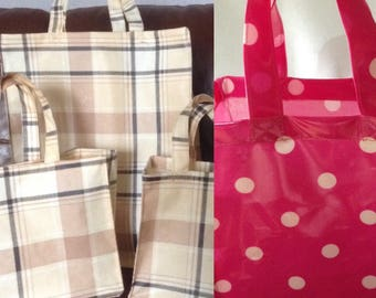 Oil Cloth Lunch/Shopping Bags. S.M.L