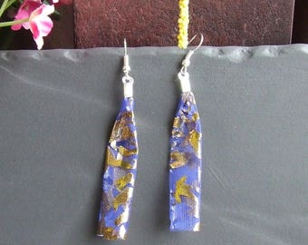 Earrings small blue stars on silver plated