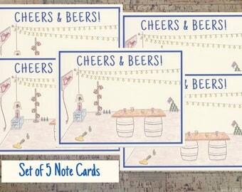 Note Card Set, Mens Stationery, Beer Gift, Stationery Set, Notecard Set, Personal Stationery, Gift For Men,  Stationery Gift, Beer Lover