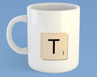 Message mug, puzzle tile, game tile, word tile, word puzzle message, tea please,  personalised letter,  scrabble tea, name mug, board game