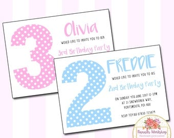 Personalised Girls Boys Polkadot Childrens Birthday Party A6 Invitations & Envelopes (IN007)