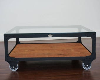 Captivating Industrial Coffee Table   Powerhouse Cart Table   Metal And Wood Industrial  Coffee Table On Wheels