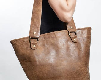 Brown Leather Tote Bag - Leather Shopping Bag - Luxury Gifts - Elegant Leather Tote Bag - Gift for Her - Women's Shoulder Bag - Luxury Gift