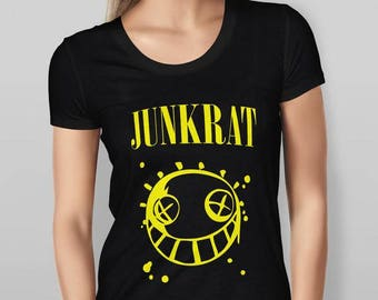 Womens Designer Overwatch Vs Nirvana Junkrat Parody   Printed Cotton Black  T Shirt