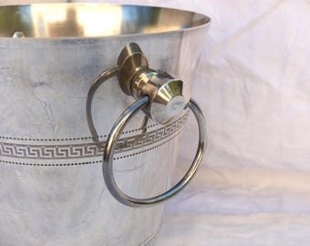 Vintage french silver plated champagne bucket. Greek key motif champagne bucket. Vintage Wedding. Ice bucket. French wedding decor.