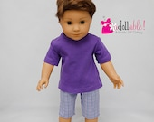 Fits like American Girl doll clothes, purple top, purple/navy checkered Bermuda shorts / 18 inch boy doll clothes