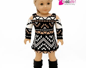 American made Girl Doll Clothes, 18 inch Doll Clothing, Black/Brown/Tan Navajo Inspired Dress made to fit like American girl doll clothes