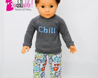 American made Boy Doll Clothes, 18 inch Boy Doll Clothing, Winter Pajamas made to fit like American girl doll clothes