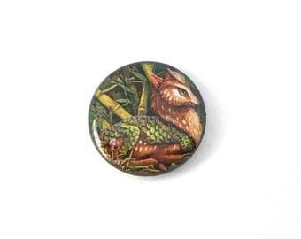 Glossy Kirin Button Pin Plastic Coated