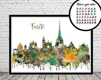 Turin, Turin skyline, Turin Italy, Italy, watercolor Turin, Turin print, Turin art, watercolor City Print, Office Art (3562b)