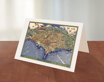 Greeting card of Los Angeles, California CA., 1891.  Reproduction map greeting card.