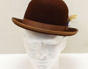 Sheplers 100% Wool Brown Bowler Derby Hat with Feather - Size Medium