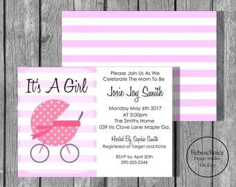 Summer Sale / Baby Shower Invitation / Baby Shower Invitation Girl / Baby Shower Invitation Girl Printable / Simple Baby Shower Invitation