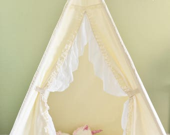 Gardenia Muslin Kids Teepee, Kids Play Tent, Childrens Play House, Tipi,Kids Room Decor