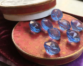 8 beautiful old collector / glass buttons - blue glass Pearl buttons - vintagebuttons (154)