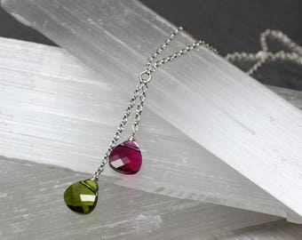 Christmas necklace, Swarovski crystal lariat, holiday jewelry, crystal Y necklace, sterling silver, double crystal necklace, green and red