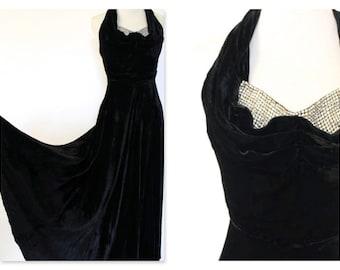 Stunning 1940's Silk Velvet Full length ball cocktail gown crystal glam Small