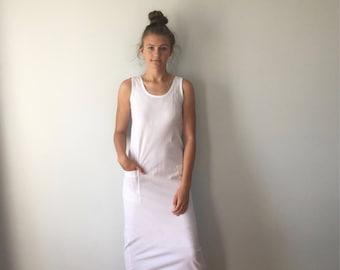 Vintage White Cotton Sleeveless Dress, DKNY Classic, White Cotton Dress, 1990s Dress, Cotton Dress,